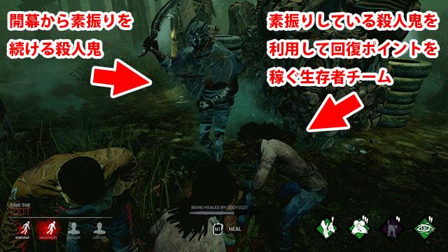 開幕から素振りし続ける殺人鬼BotとBotを利用してポイントを稼ぐ生存者