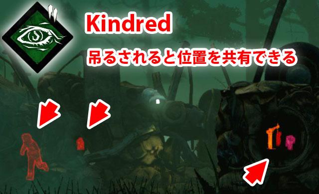 Kindredパーク:自分が吊るされたときに、味方の位置を味方全員に共有できる。レベル3になると自分の8m以内にいる殺人鬼の位置も共通する。
