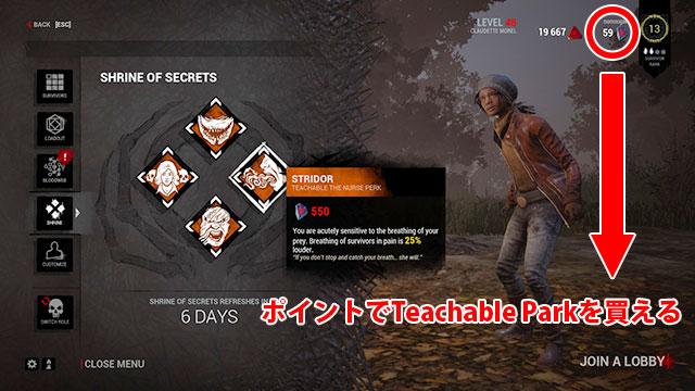 Shrine of SecretsではIridescent Shardsのポイントを使ってTeachable Parkを購入することができる