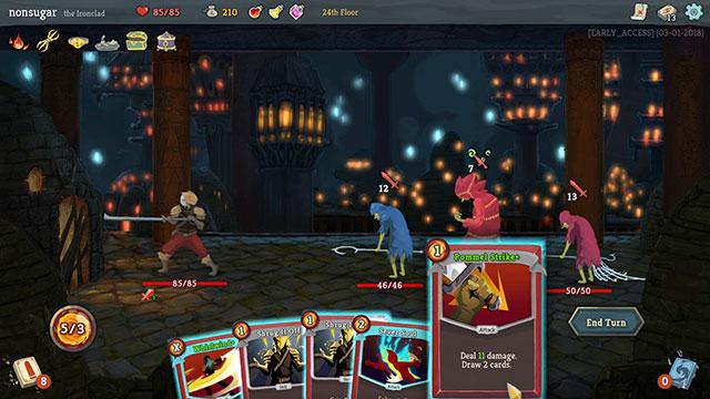 Slay the Spireはプレイヤーの行動後に敵が行動するターン制の戦闘です。